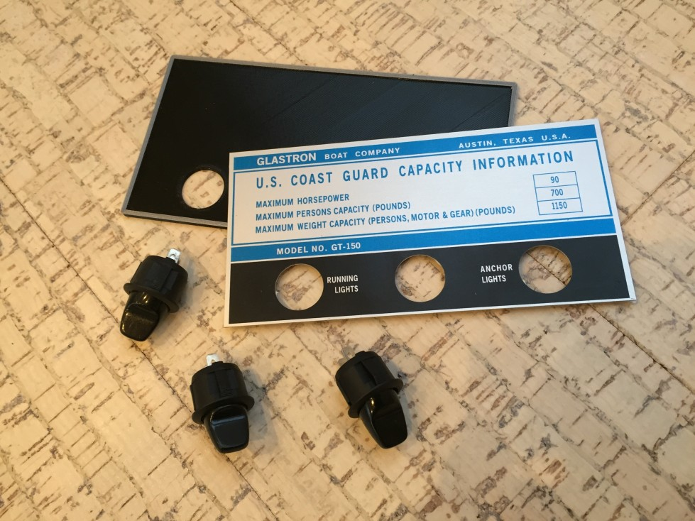 Glastron GT-150 aluminium capacity plate plastic frame and 3 switches